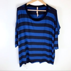 B44 CORE Striped Dolman Sleeve Oversized Tunic Top